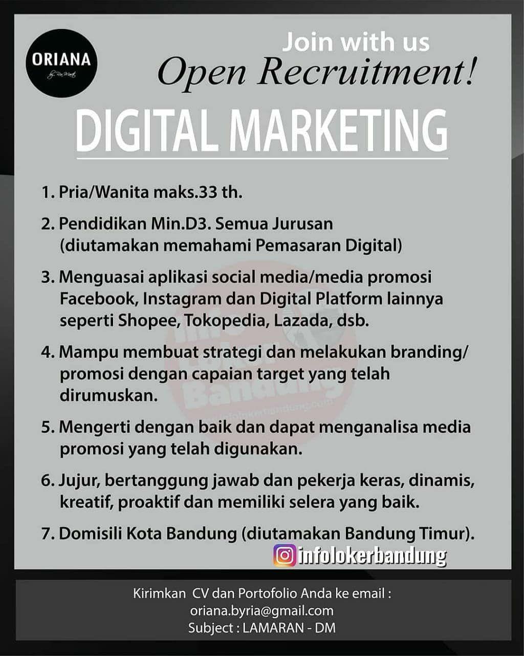 Lowongan Kerja Digital Marketing Oriana Boutique & Scarves Bandung Juni 2020