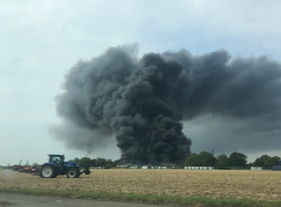 Parham Airfield Explosion:  'Huge Fire' near an Airfield in Suffolk; 50 Firefighters on the Scene