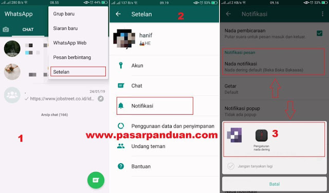cara mengganti nada dering wa (whatsapp)