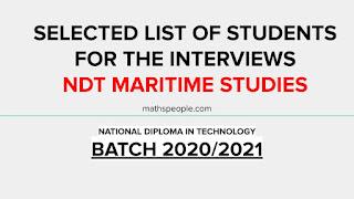 Interview List NDT Maritime Studies Batch 2020/2021