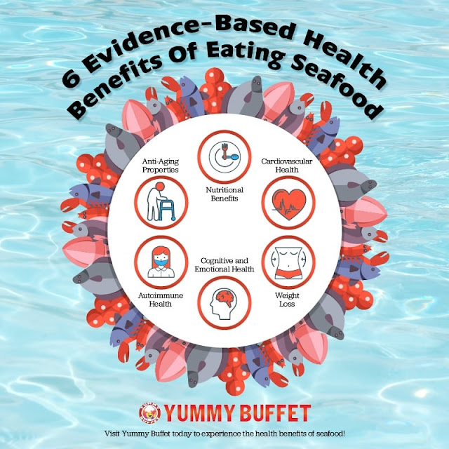 6 Evidence-Based Health Benefits Of Eating Seafood #infographic #Seafood #infographics #Health Benefits #Food
