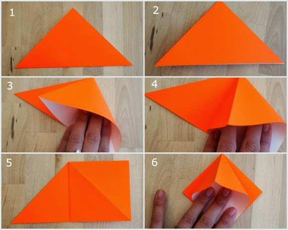 First 6 steps showing how to fold an origami pumpkin for Halloween