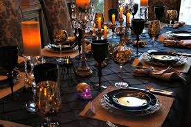 halloween spooky scary dinner table setting