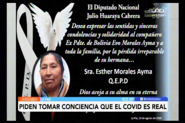 Tras deceso de Esther Morales piden a afines al MAS tomar conciencia de que el coronavirus es real