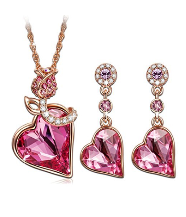 Red Crystal Rose Gold Plated Necklace Earrings Women Jewellery Set