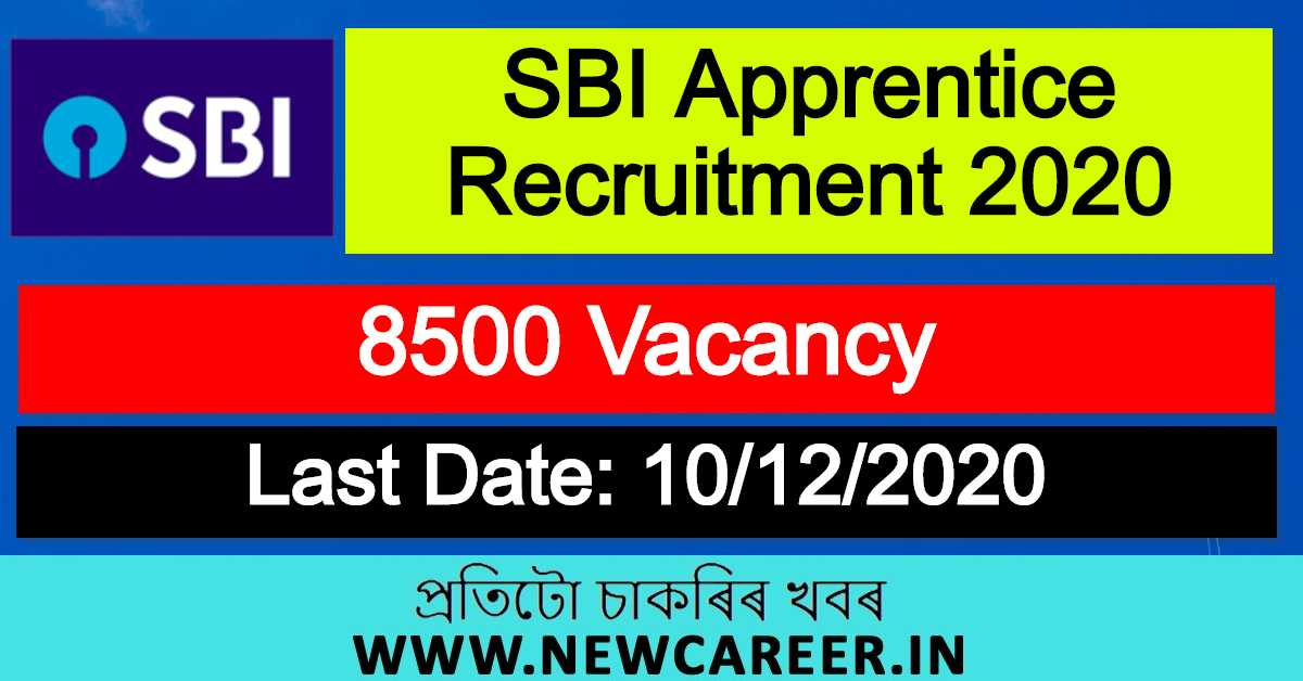 SBI Apprentice Recruitment 2020 : Apply Online For 8500 Vacancy