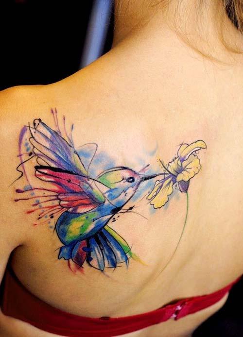 watercolor bird tattoo eith flower renkli kuş dövmesi çiçekli
