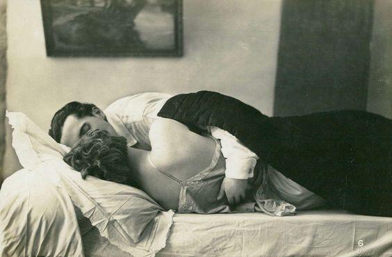 Jacques Biederer scena erotyczna para przytulająca się w łóżku