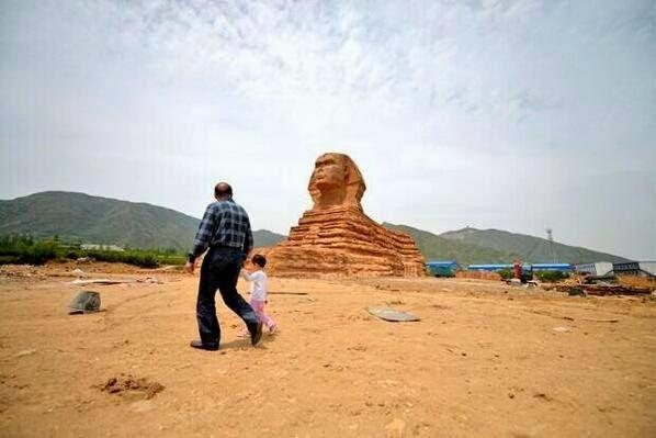 بناء نسخة طبق الأصل من تمثال أبو الهول في قرية دونجوو بمدينة شيجياتشوانغ الصين