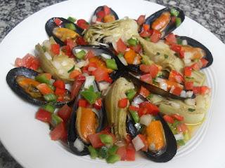 Receta de mejillones y alcachofas con vinagreta de verduras
