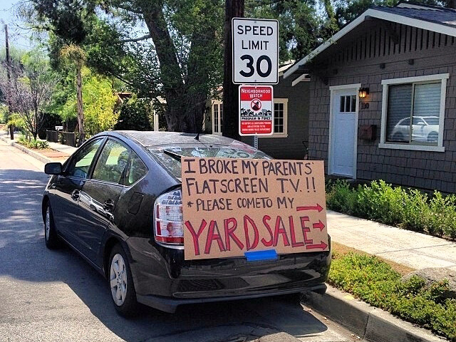 Funny Yard Sale Signs: Broke Parent's TV
