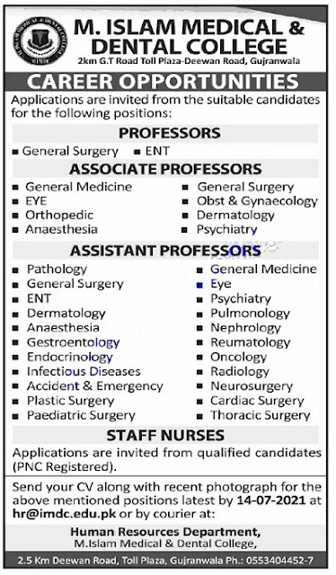 Jobs in Gujranwala 2021 M Islam medical and dental college