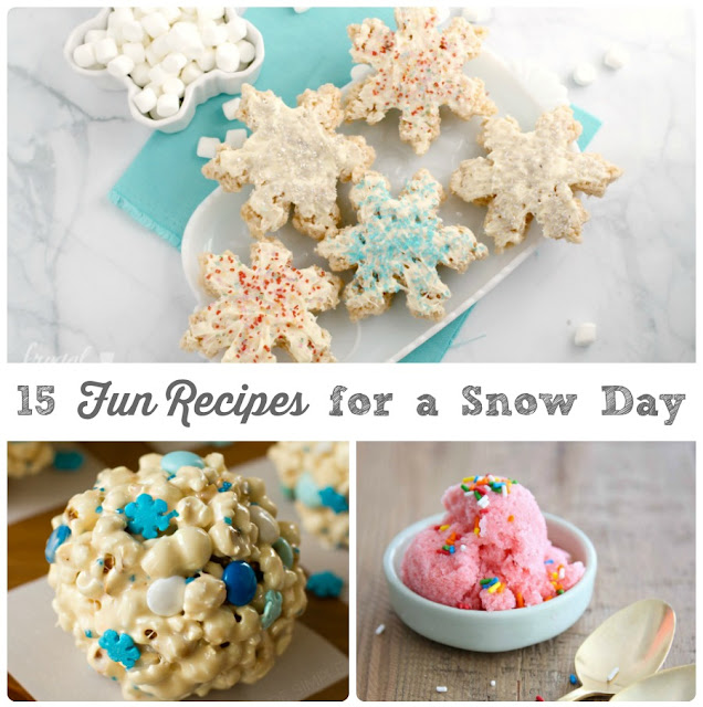 From snowman themed treats to homemade snow ice cream, make the most out of that next wintry day at home with these 15 Fun Recipes for a Snow Day.