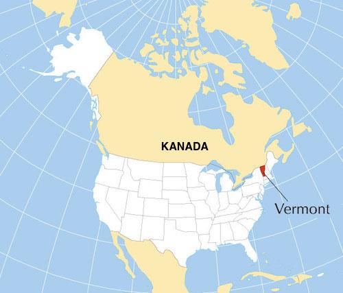 Vermont Nerede, Vermont Harita