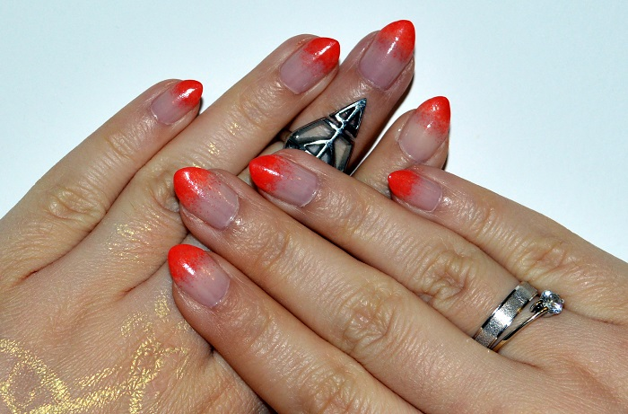 nails, beauty, #beauty, #nails, ombre nails, orange nails, nail art, nail design, natural nails