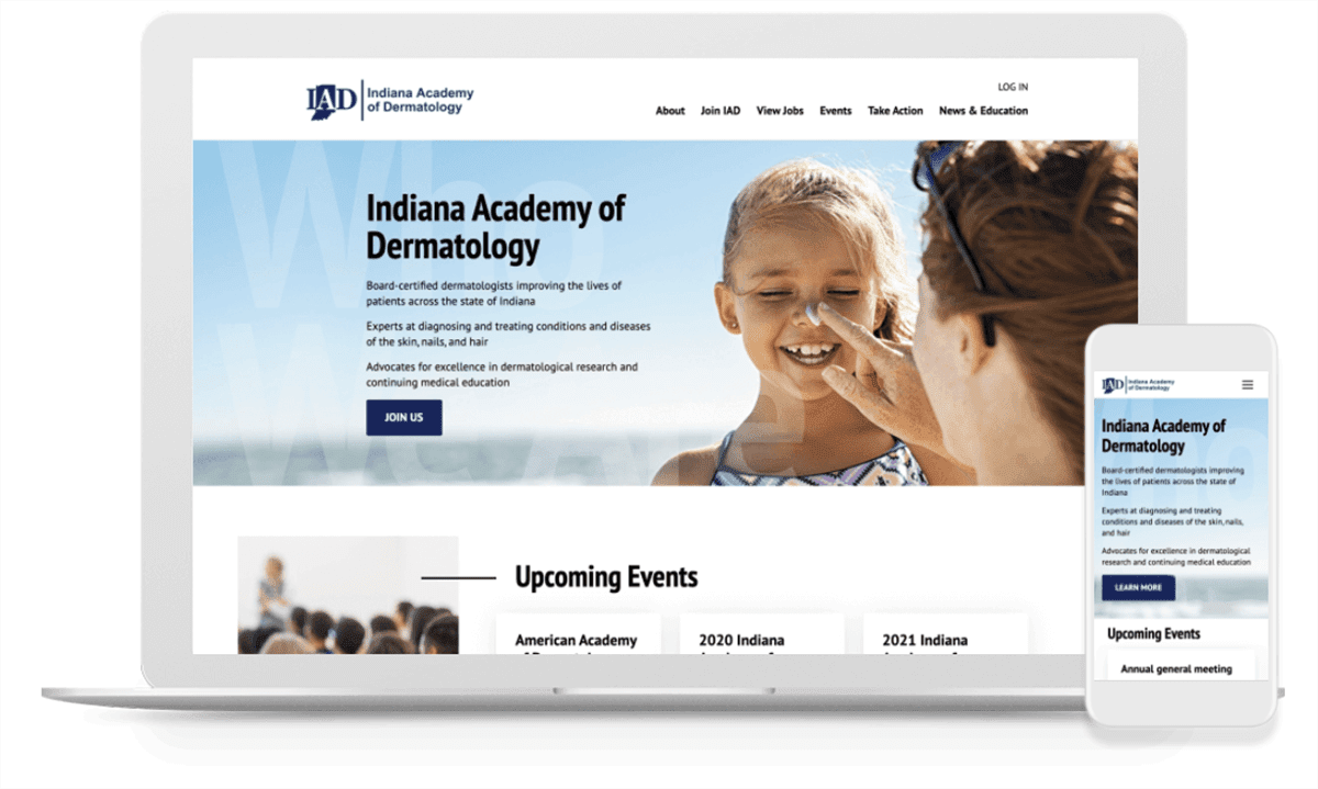 the mobile and desktop view of IAD's new membership website