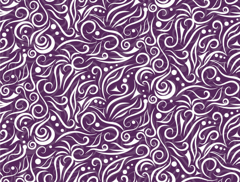 White hand drawn pattern on purple background