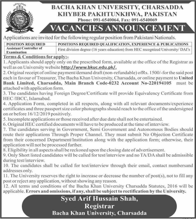 Bacha Khan University Charsadda KPK Jobs December 2019