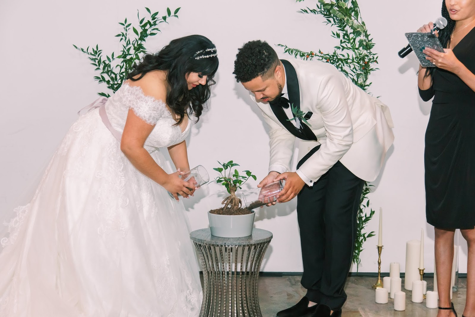las vegas wedding, african american officiant, tree planting