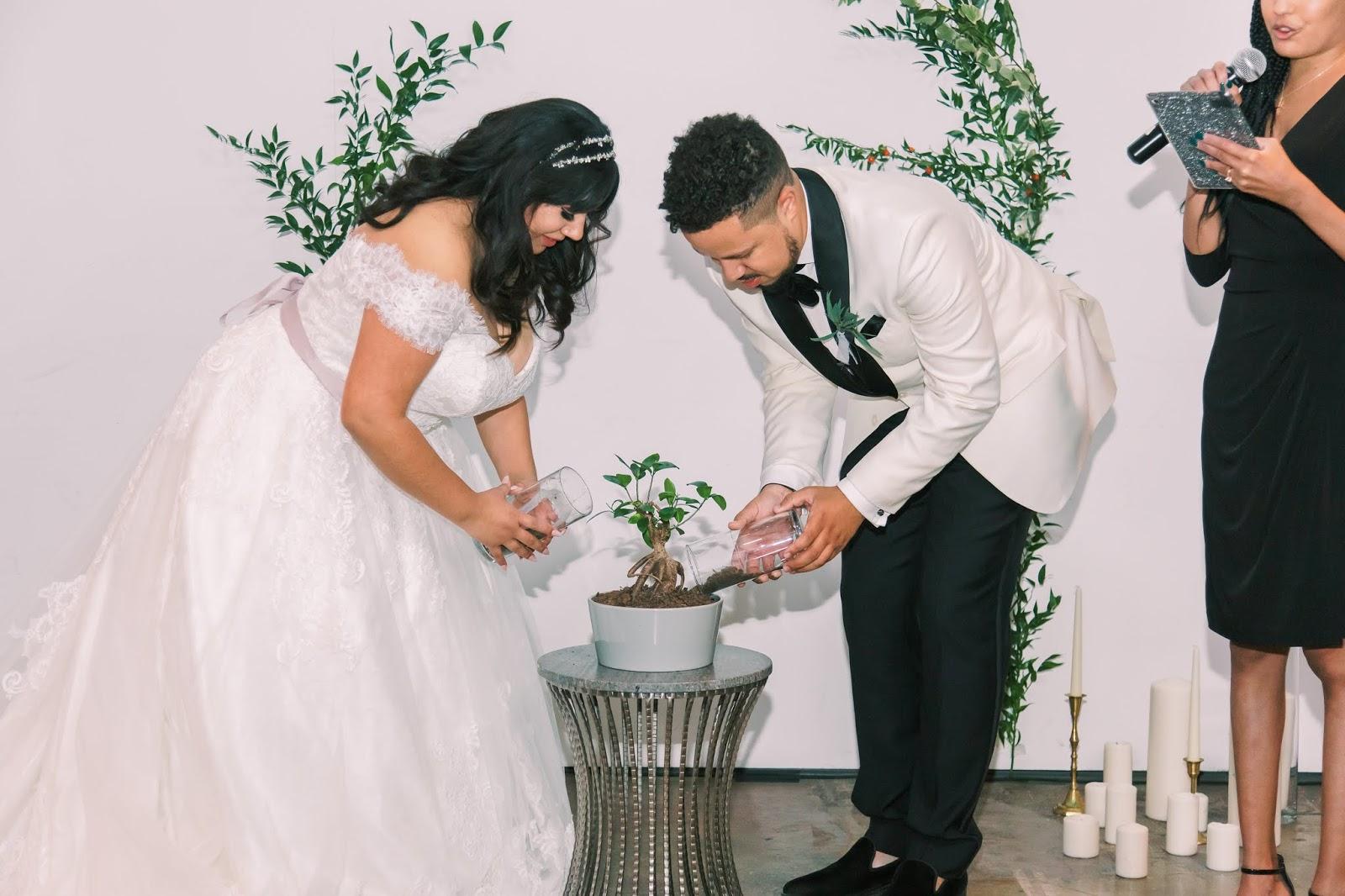las vegas wedding, african american officiant, tree planting