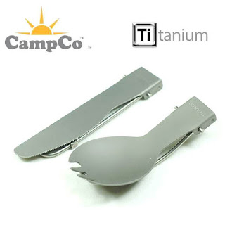 CAMPCO Titanium Outdoor Camping Folding Spork and Knife Set