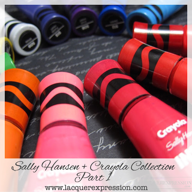 swatches and review of Sally Hansen + Crayola nail polish  collection