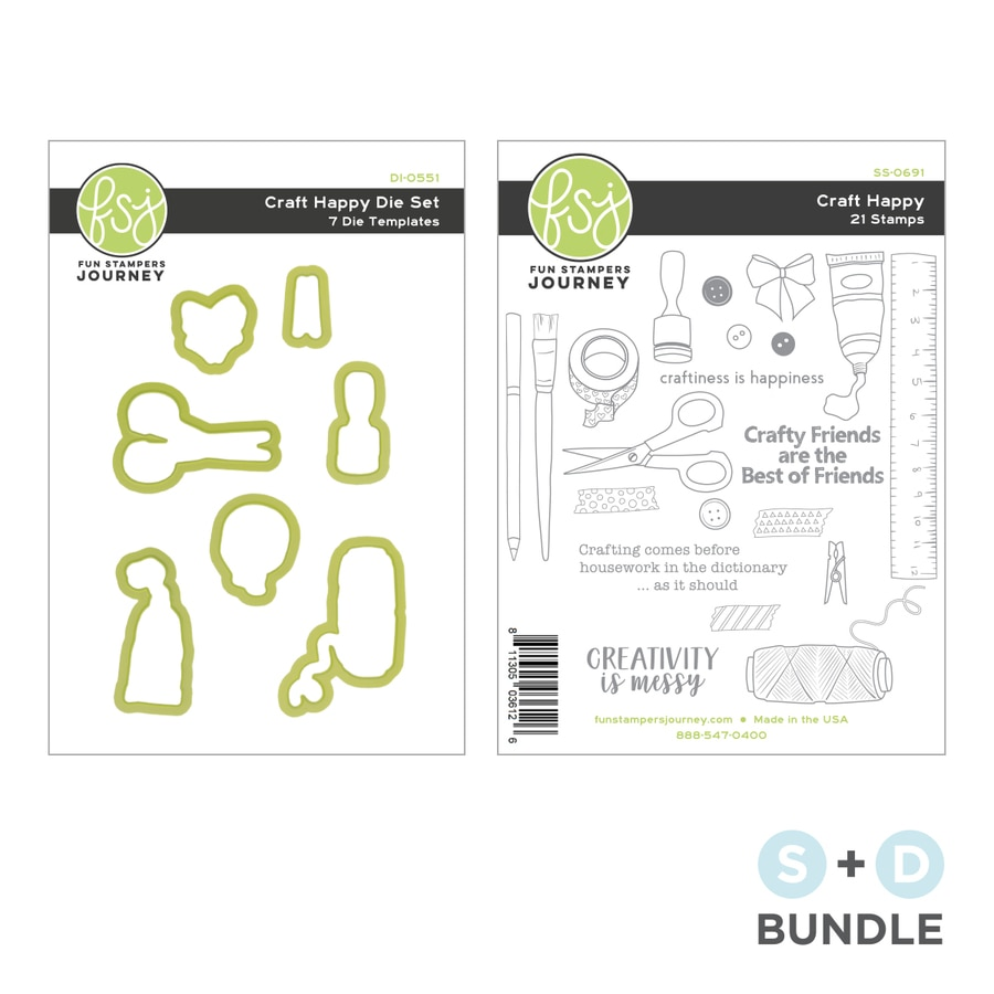 Craft Happy Stamp and Die Bundle from Fun Stampers Journey + Spellbinders with clear photopolymer stamps and coordinating dies for craft projects and handmade cards, especially for your crafty friends!