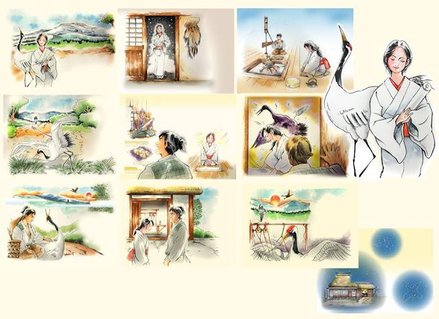 絵本、絵本イラスト、イラスト制作、イラストレーター検索、イラストレーター一覧、挿絵、水彩画、童話、古典、北風と太陽、 鶴の恩返し、夕鶴、お鶴、子供、水彩画、イラスト、