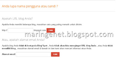 Solusi Lupa Password Blogger