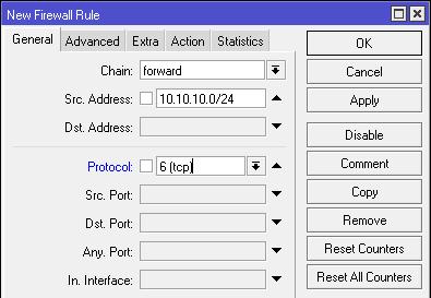 Gambar Tab Menu General pada Firewall Filter