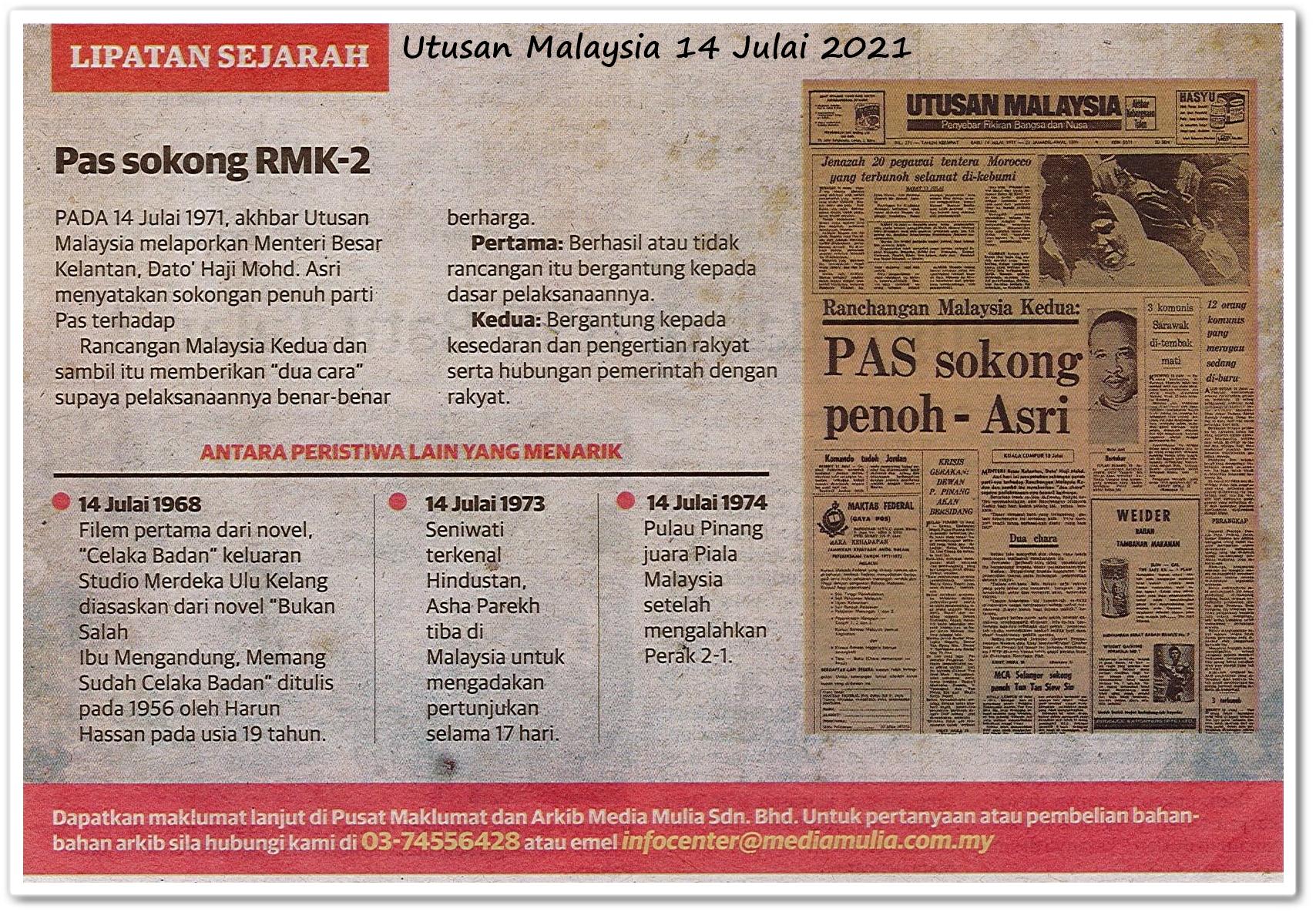 Lipatan sejarah 14 Julai - Keratan akhbar Utusan Malaysia 14 Julai 2021