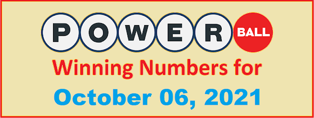 PowerBall Winning Numbers for Wednesday, October 06, 2021