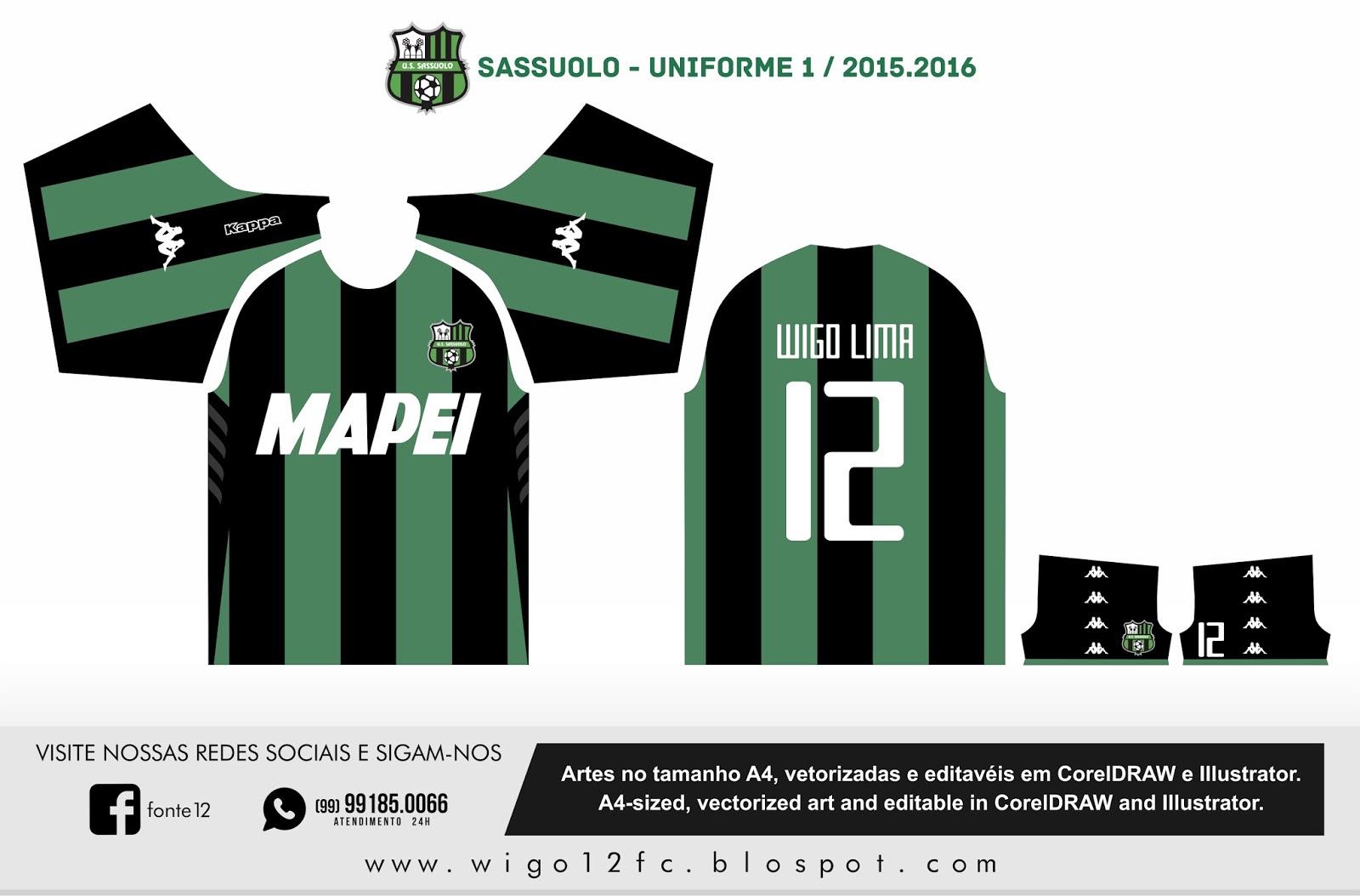 8f2916bb3d682 Fontes Camisas de Futebol  Uniforme Sassuolo 2015-2016