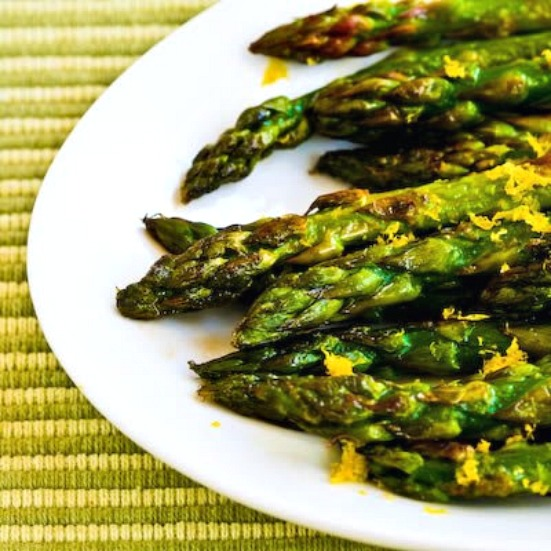 Pan-Fried Asparagus Tips with Lemon Juice and Lemon Zest found on KalynsKitchen.com