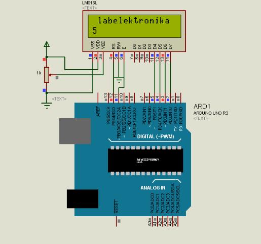 Cara Program LCD Karakter 16x2 Menggunakan Arduino dan Proteus