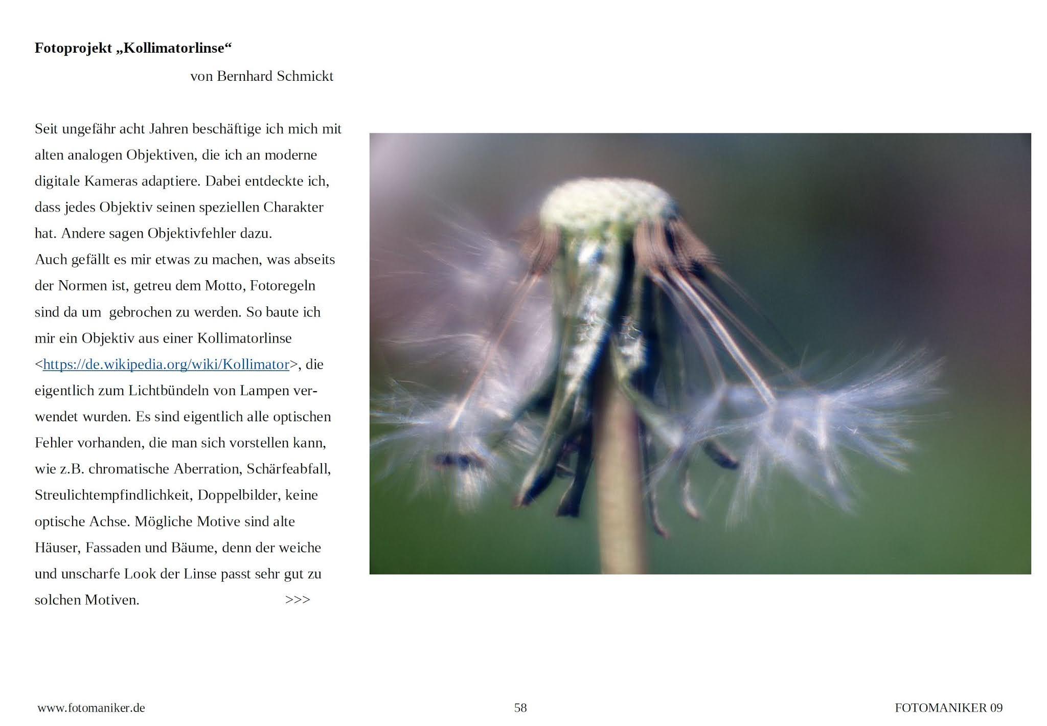Glückspilz #4 — Der Kollimator hat es in eine Onlinezeitschrift geschafft