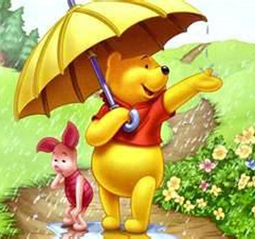 Wallpaper Winnie The Pooh: Winnie The Pooh Take An Umbrella Cartoon Wallpaper
