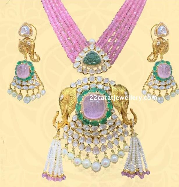 Ruby Beads Set Moissanite Pendant