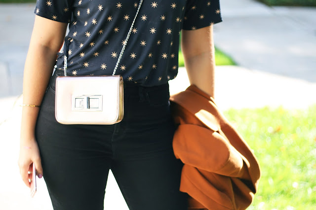 French connection star print t-shirt, Free people bag details