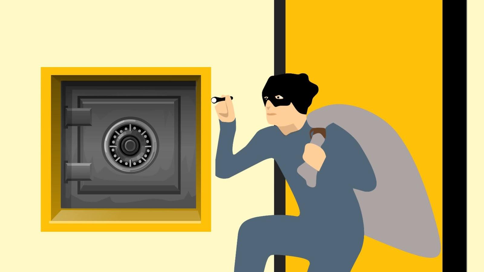 Illustration of thief and burglar cartoon character