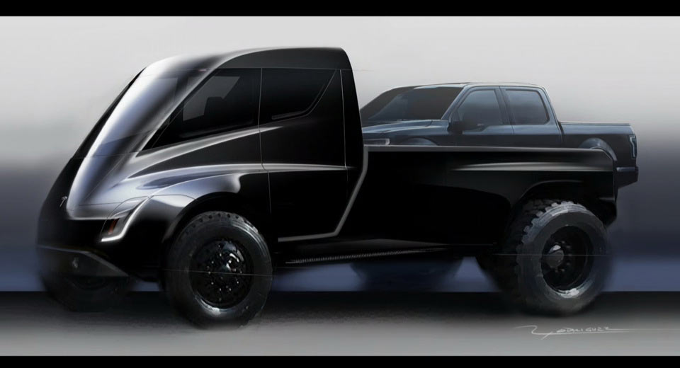 Tesla Pickup Truck Teased Looks Like A Giant Toy Car