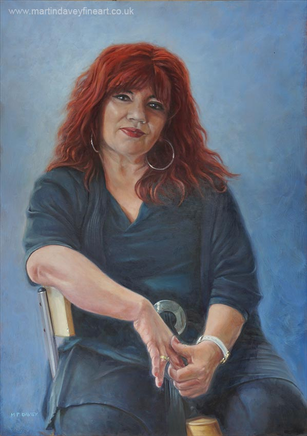 red haired woman on stool oil painting by M P Davey
