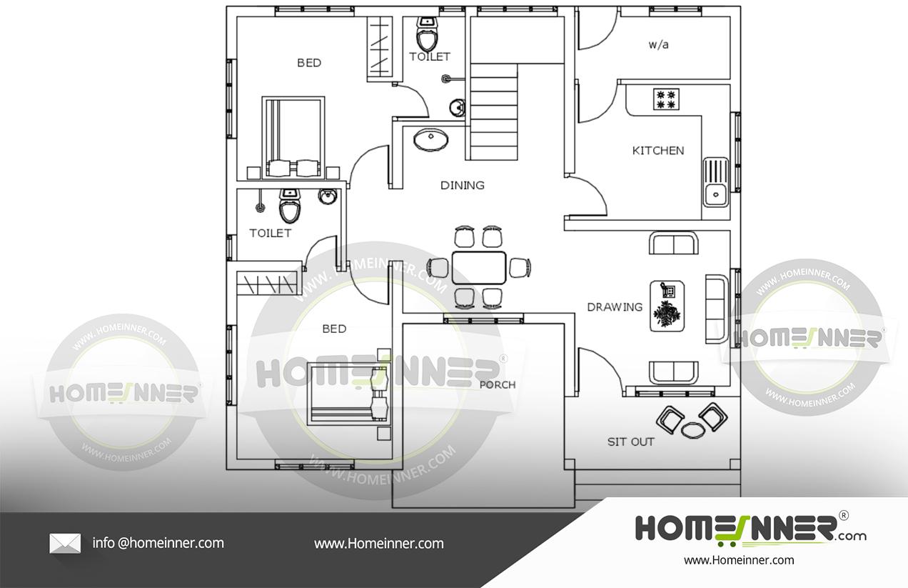 976 sq ft 2BHK Free house plan