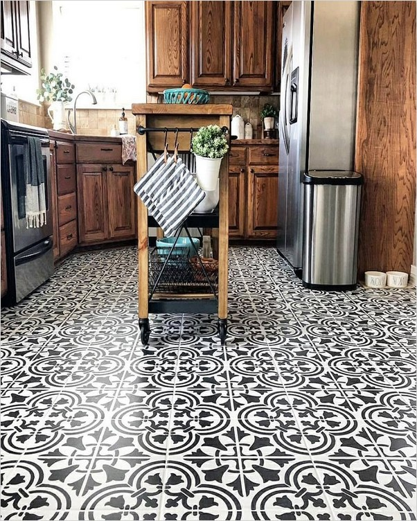 Black And White Tile Floor Kitchen Home Interior Exterior Decor Design Ideas