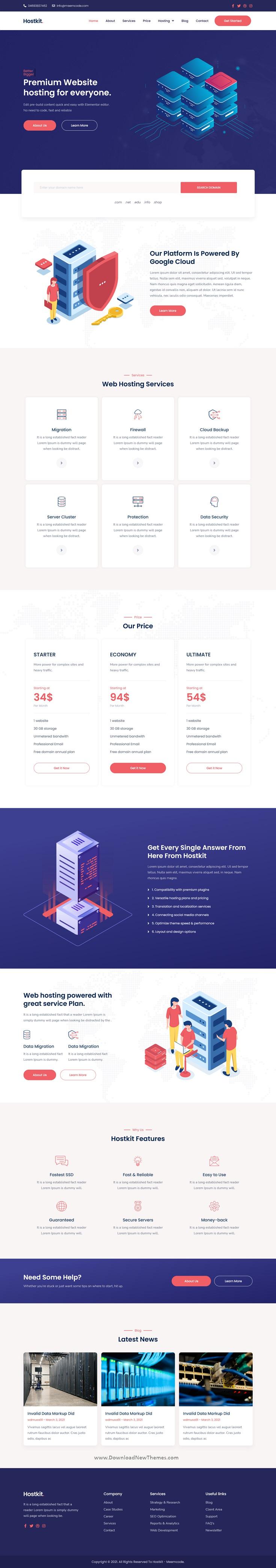 Hosting Services Elementor Template Kit