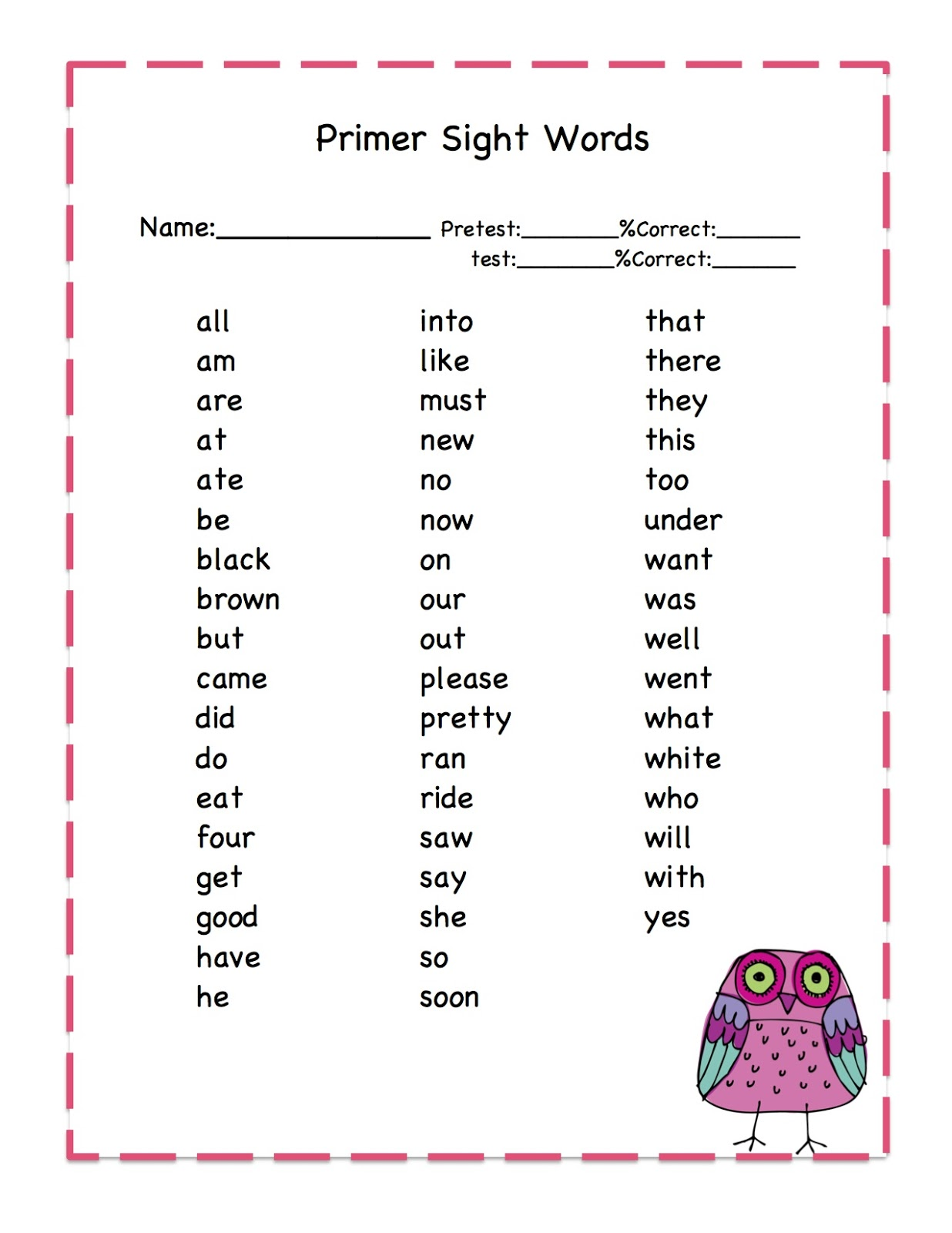 Owls Primer Sight Words Printable ~ Preschool Printables