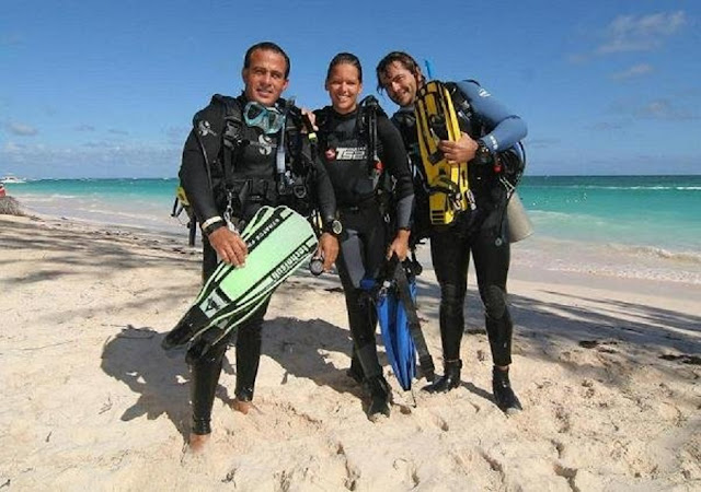 Photo of Ellis after scuba diving on Dominican Republic