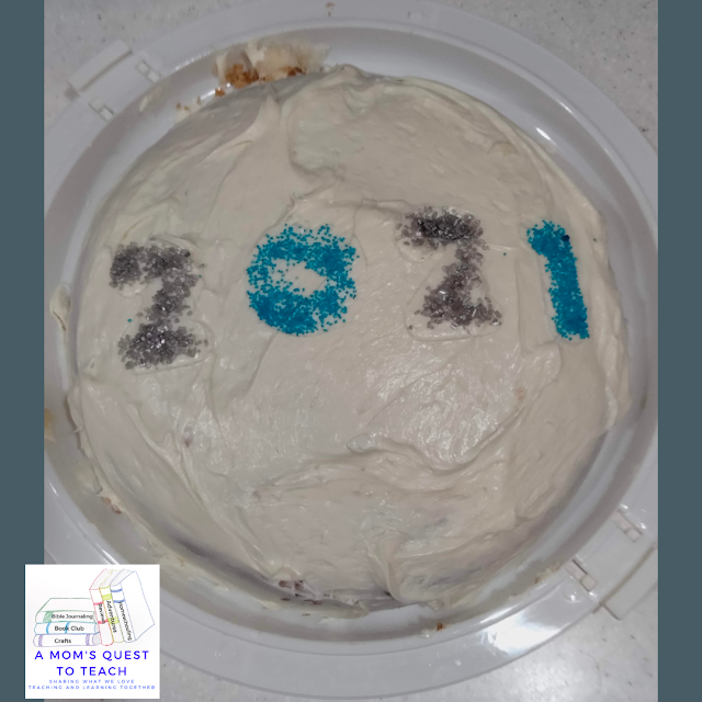 A Mom's Quest to Teach: Wordless Wednesday: Graduation - Celebrating a high school graduation with a vanilla iced 2021 cake