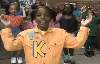 Little girls sing a song about the letter K, clapping and dancing. Sesame Street All Star Alphabet