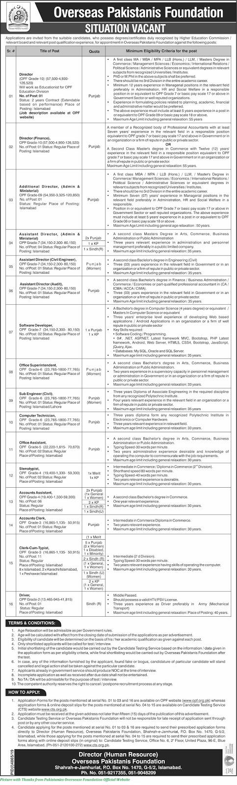 Overseas Pakistanies Foundation Latest Jobs 2020 - Latest Job Opportunities for Males & Females